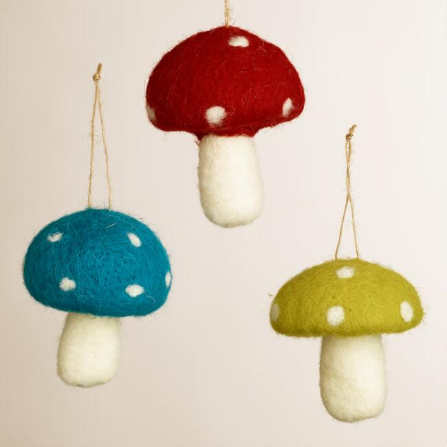 Polka Dot Felt Mushroom Ornaments, Set of 3