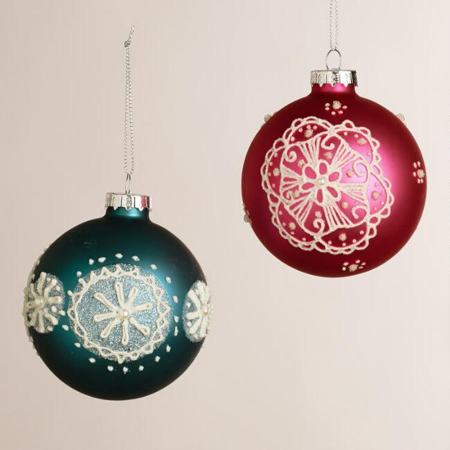 Embellished Glass Hand-Painted Ball Ornaments, Set of 2