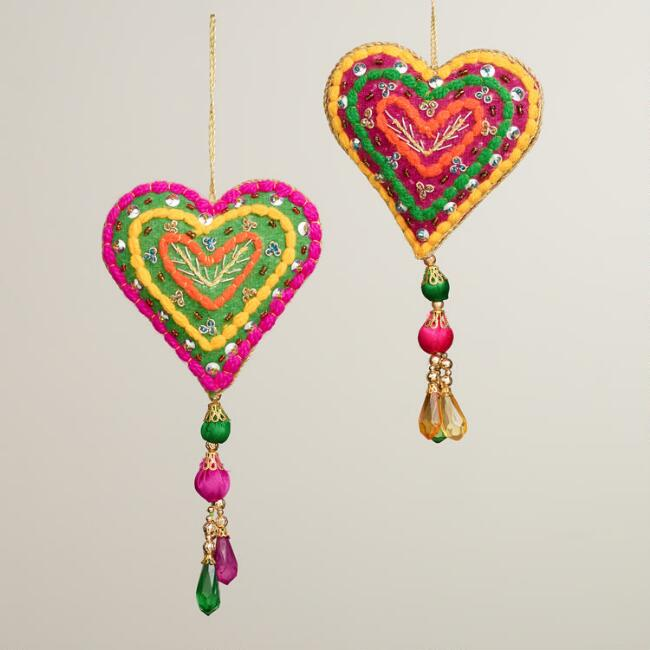 Embroidered Felt Heart with Tassel Ornaments, Set of 2