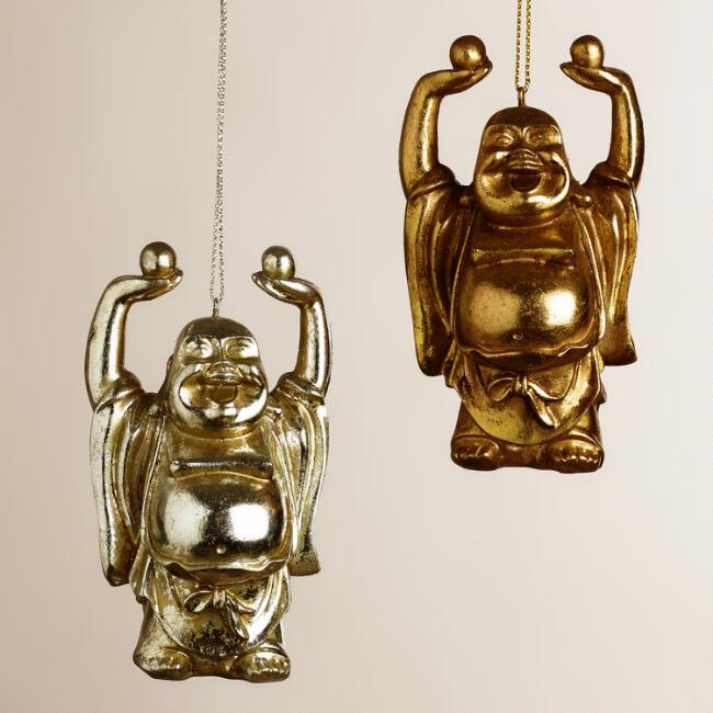 Chinese-Style Happy Buddha Ornaments, Set of 2