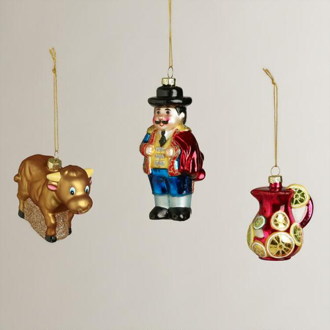 Glass Spain Boxed Ornaments, Set of 3