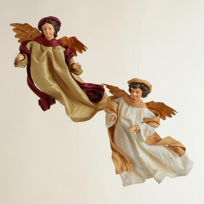 Traditional Fabric Angel Ornaments, Set of 2