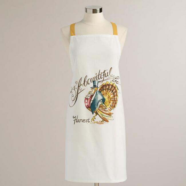 White Mr. Turkey Apron