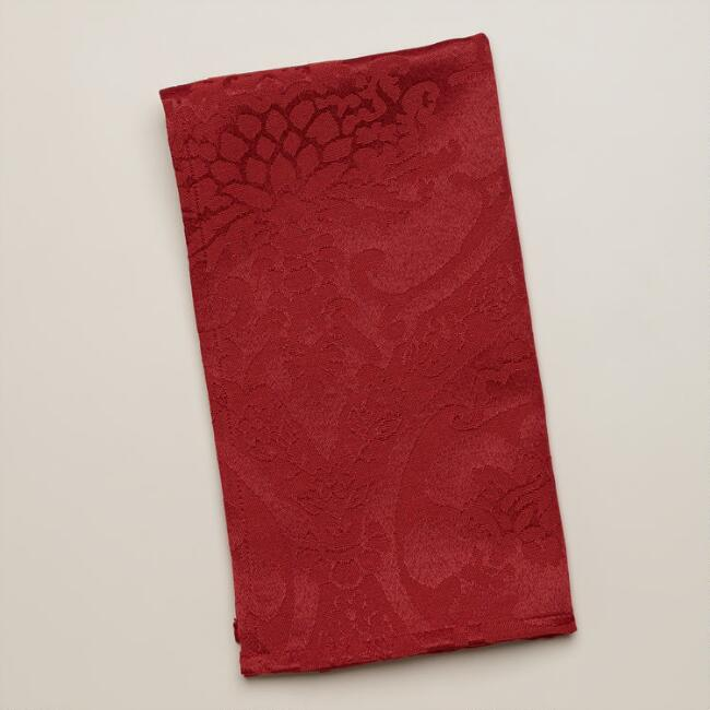 Red Damask  Ogee Napkins, Set of 4