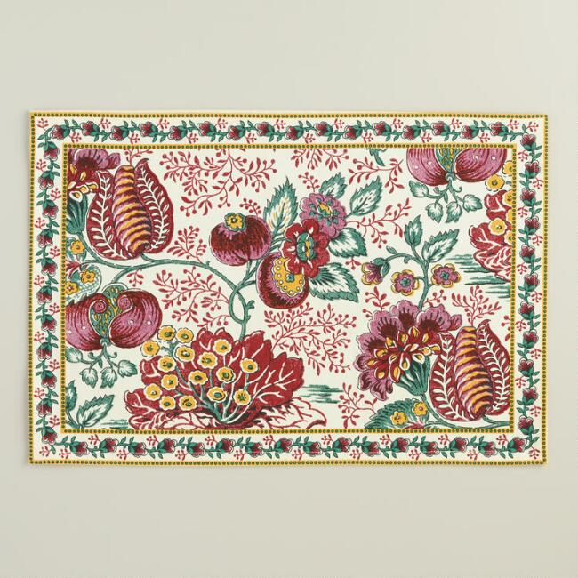 Pomegranate Floral Cotton Placemats, Set of 4