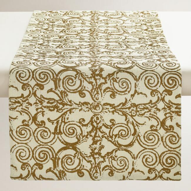 White and Gold Gate Print Jute Table Runner