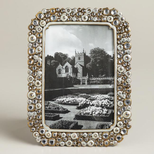 Medium White Beaded Kinsey Frame