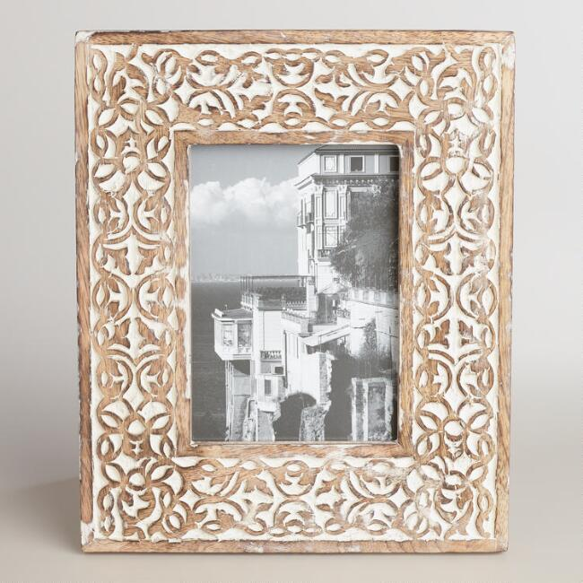 Whitewash Carved Wood Deja Frame
