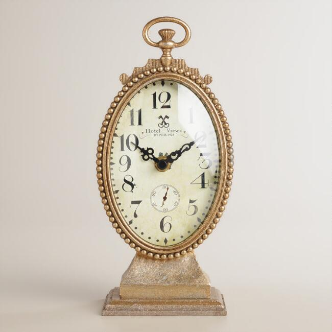 Gold Oval Metal Ornate Cece Clock