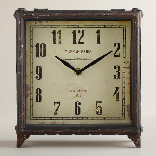 Black Square Retro Tilly Tabletop Clock