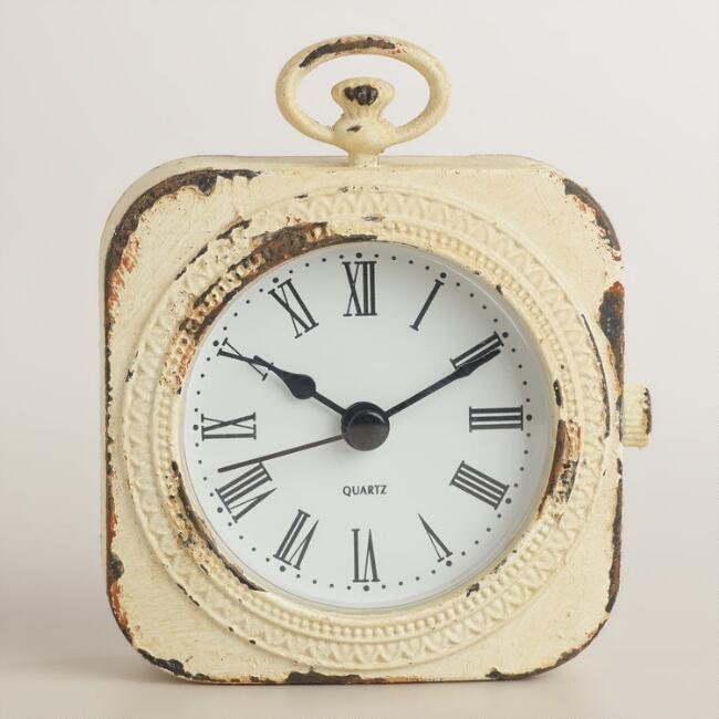 White Metal Lexi Pocket Watch Clock