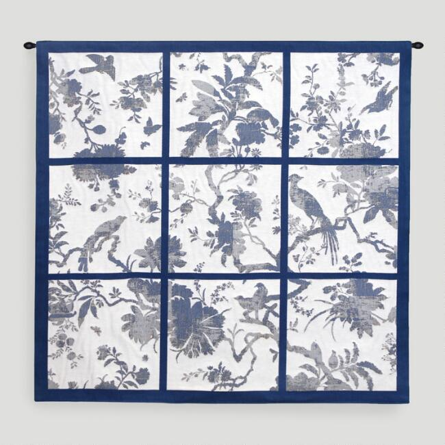 Blue Divided Floral Wall Tapestry