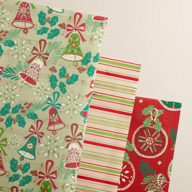 Striped Buon Natale Wrapping Paper Rolls, 3-Pack