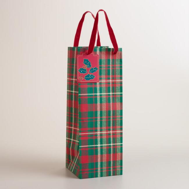 Plaid Buon Natale Wine Bag