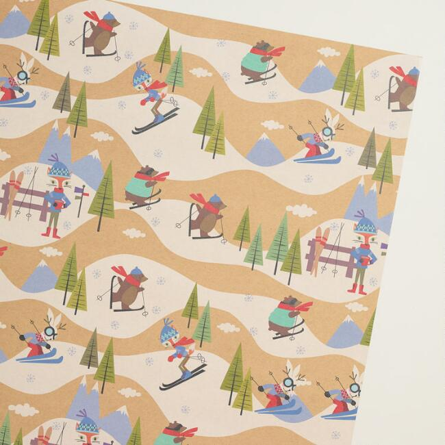 Fox & Hare Hit the Slopes Kraft Wrapping Paper Roll
