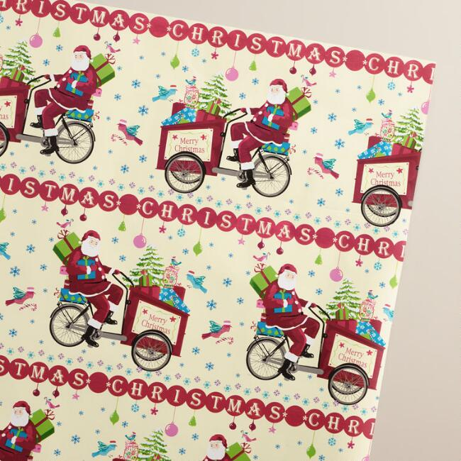 Jumbo Retro Santa on Bike Wrapping Paper Roll