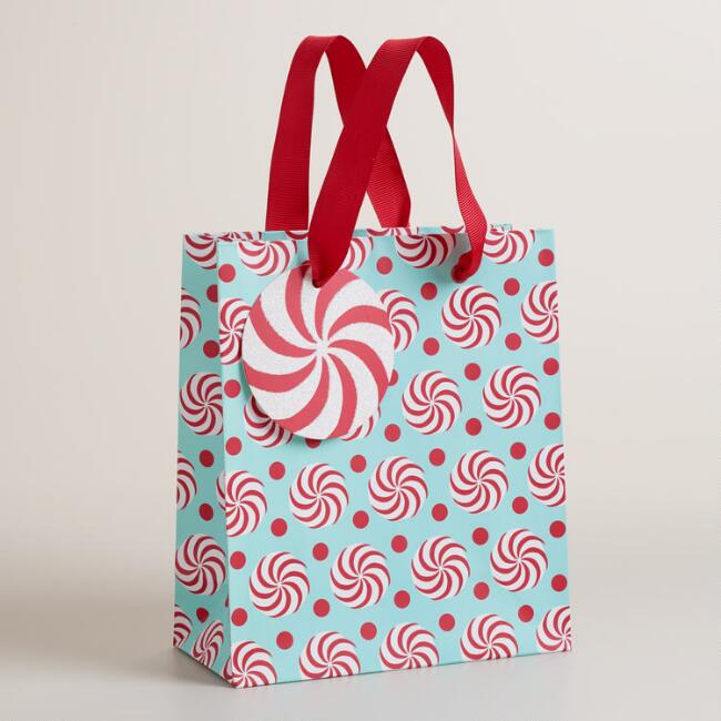 Small Retro Santa Candy Swirl Gift Bag