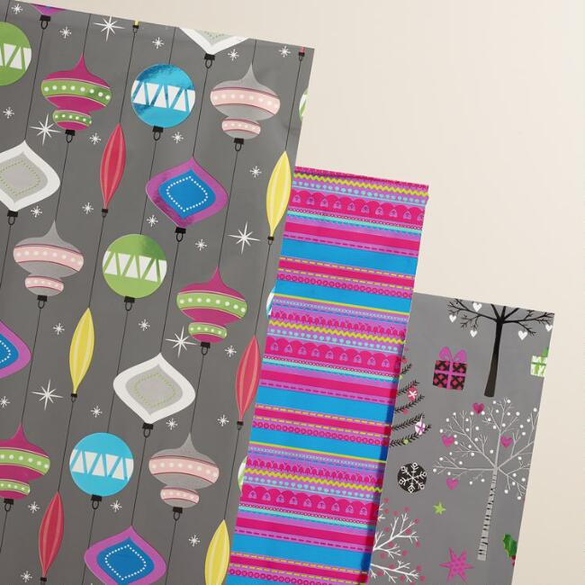 Mistletoe Wishes Baubles Wrapping Paper Roll, 3-Pack
