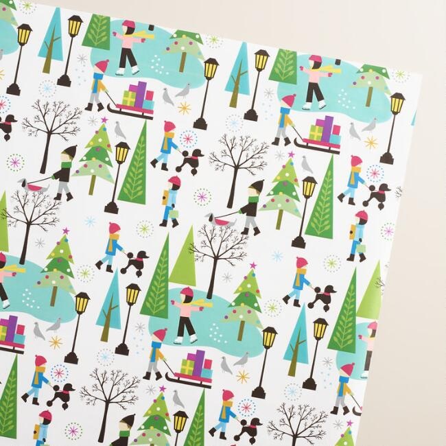 Jumbo Mistletoe Wishes Skaters Wrapping Paper Roll