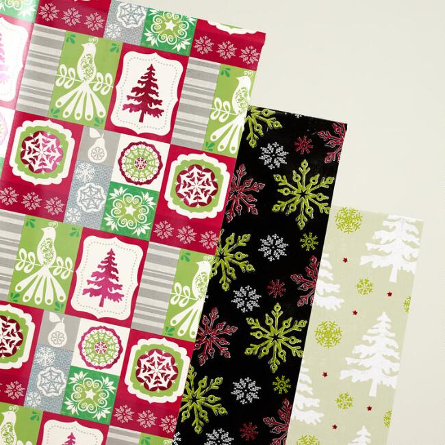 Scandi Trees Wrapping Paper Rolls, 3-Pack