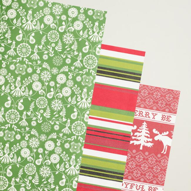 Scandi Striped Wrapping Paper Rolls, 3-Pack