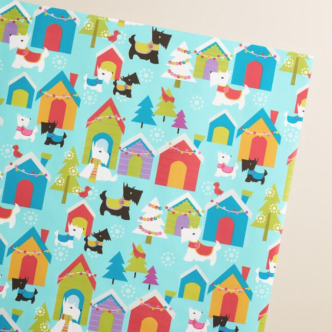 Blue Scottie Wrapping Paper Roll