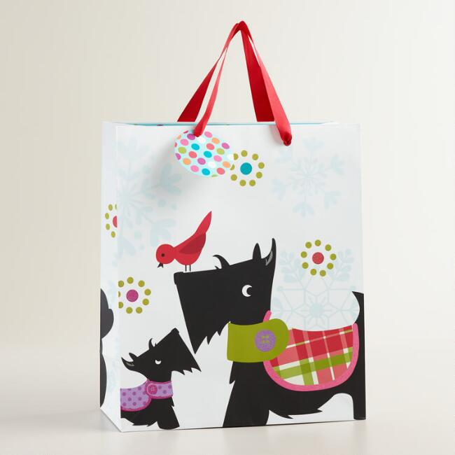 Large Scottie and Bird Gift Bag