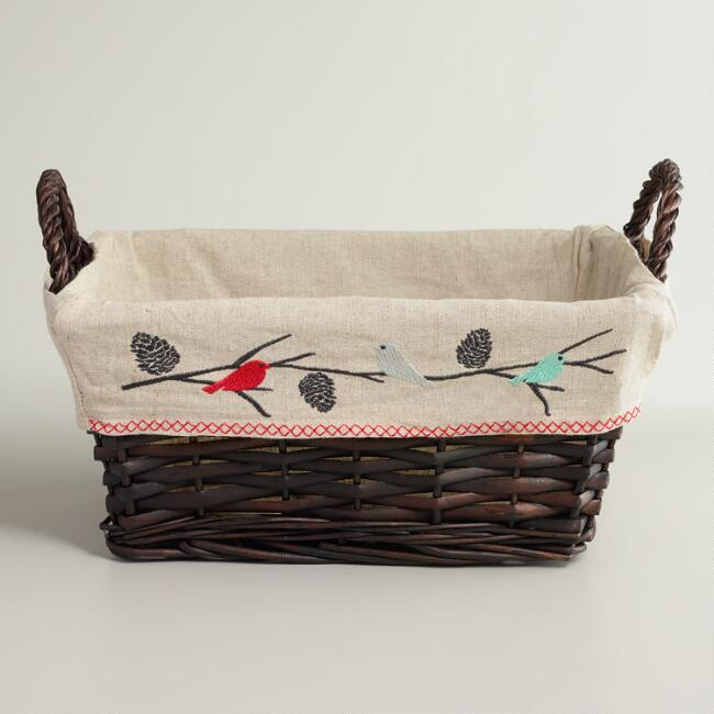 Snowbirds Lined Willow Basket