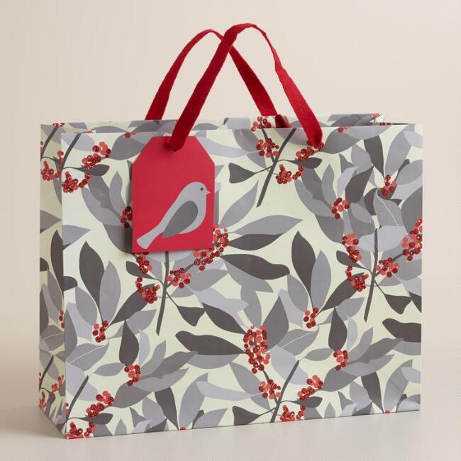 Large Poinsettia Gift Bag