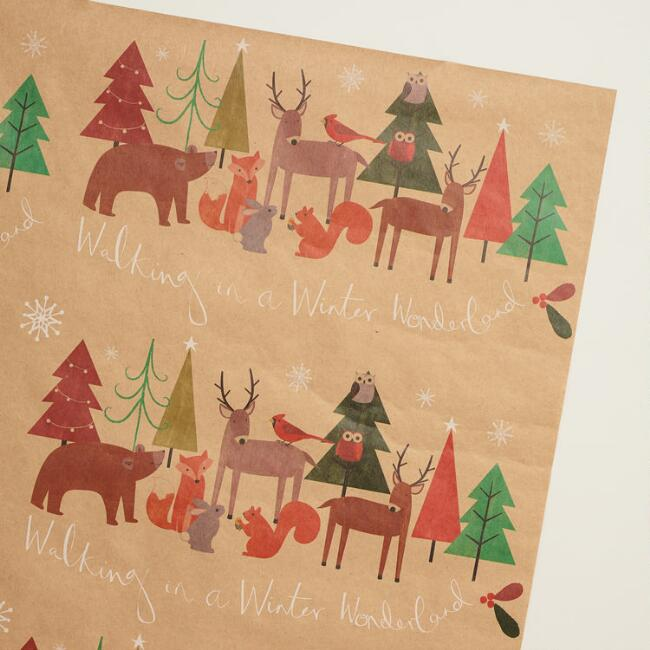 Woodland Friends Kraft Wrapping Paper