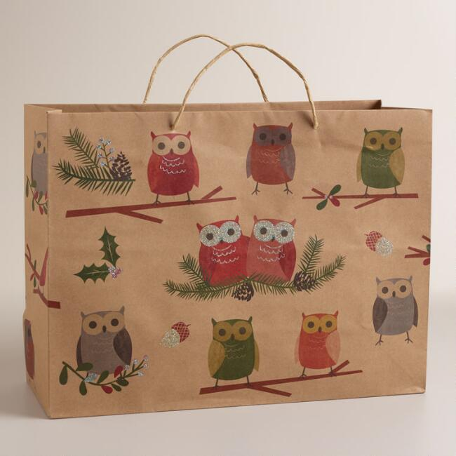 Large Woodland  Owls Kraft Gift Bag