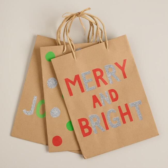 Medium Neon Kraft Value Gift Bags, Set of 3
