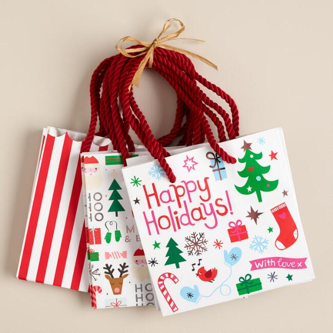 Mini Stripes and Prints Value Gift Bags, Set of 3