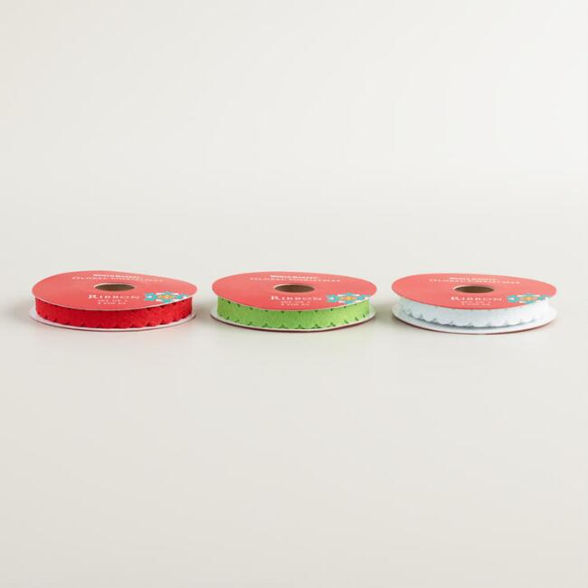 Red, Green and White Circle Ribbons, 3-Pack