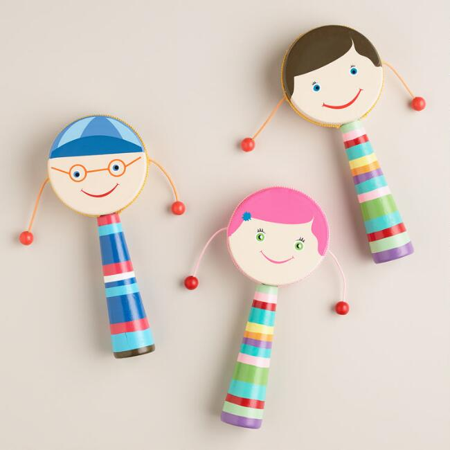 Mini Hand Drums with Faces, Set of 3