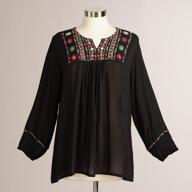 Black Embroidered Mirror Aria Peasant Blouse