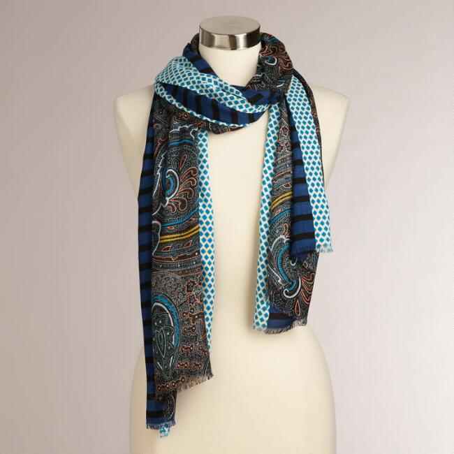 Blue Paisley Dotted Border Scarf