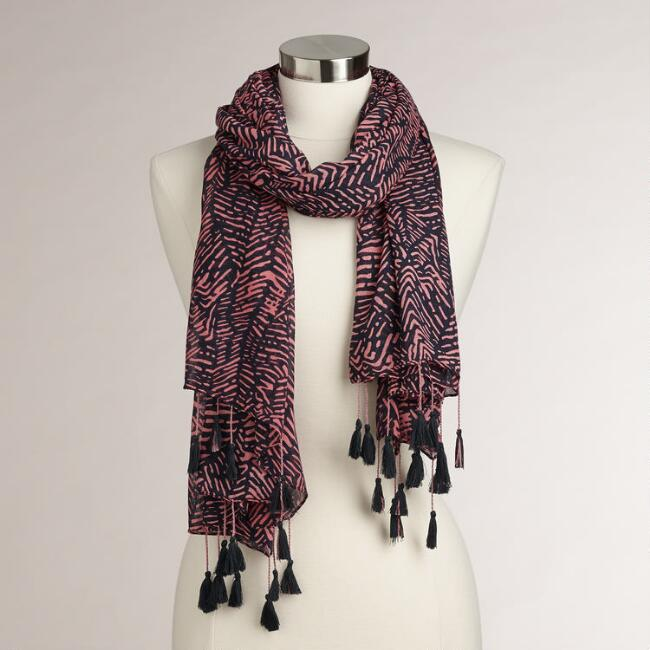 Navy and Pink Tribal Scarf with Tassels