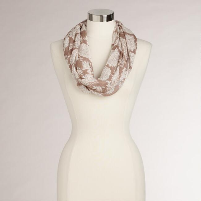 Taupe Hydrangea Infinity Scarf