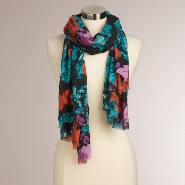 Coral, Pink and Teal Scarf with Fringe