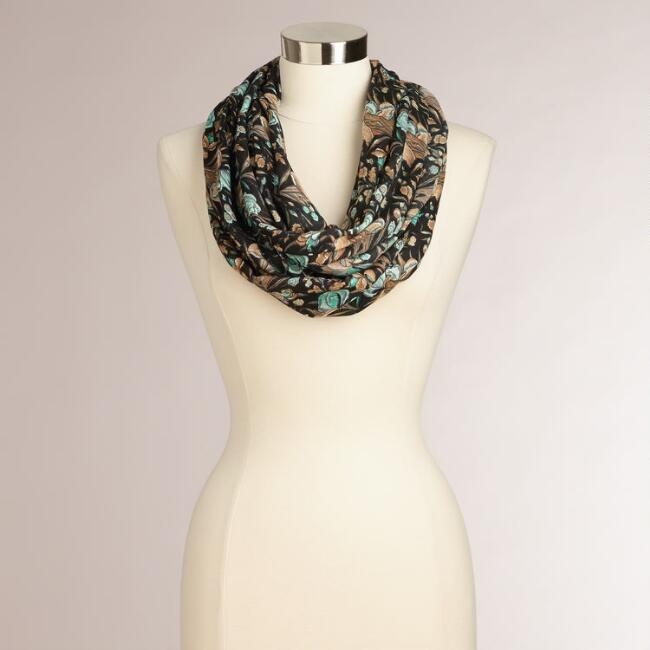 Taupe and Mint Floral Infinity Scarf