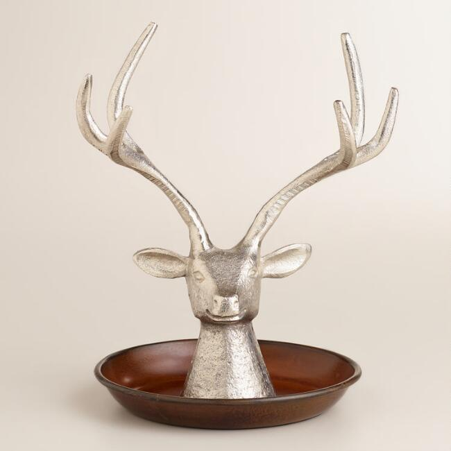 Antique Silver Stag Head Jewelry Stand
