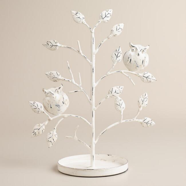Whitewash Tree with Owls Jewelry Stand