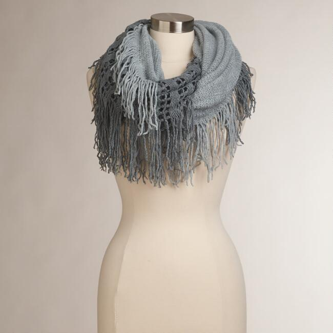 Gray and White Two-Tone Fringed Infinity Scarf