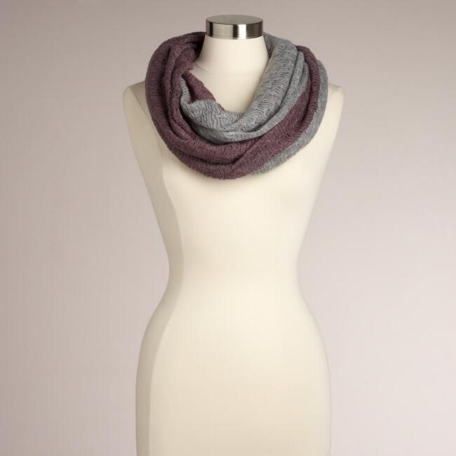 Grey and Lavender Two-Toned Infinity Scarf