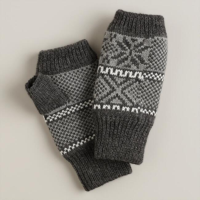Gray Geometric Fingerless Gloves