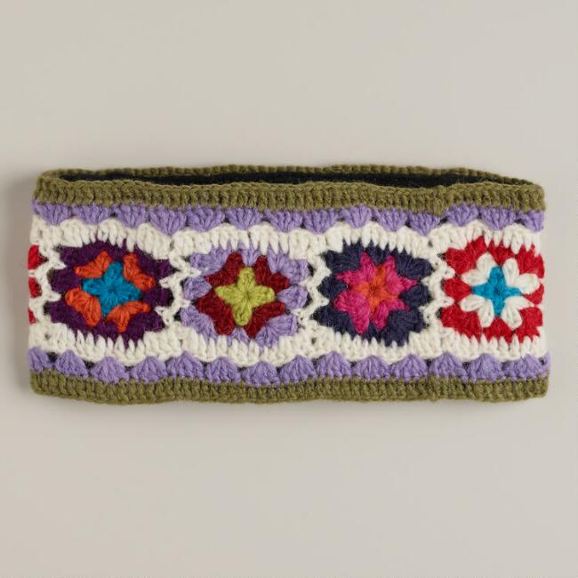 Wool Multicolor Floral Knit Head Warmer