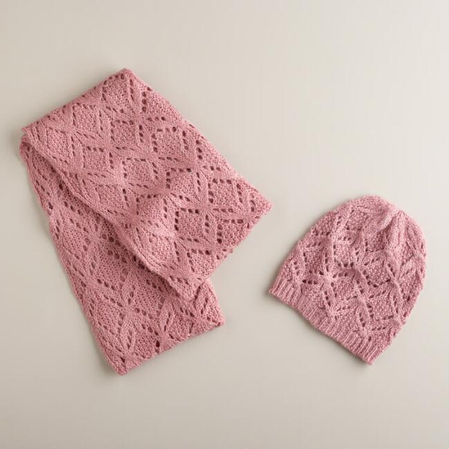 Mauve Infinity Scarf and Hat Set