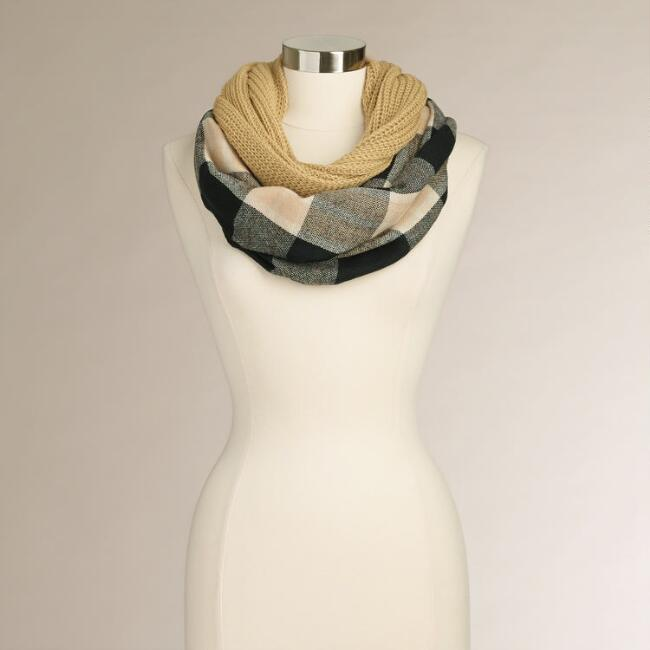 Taupe and Black Plaid Infinity Scarf