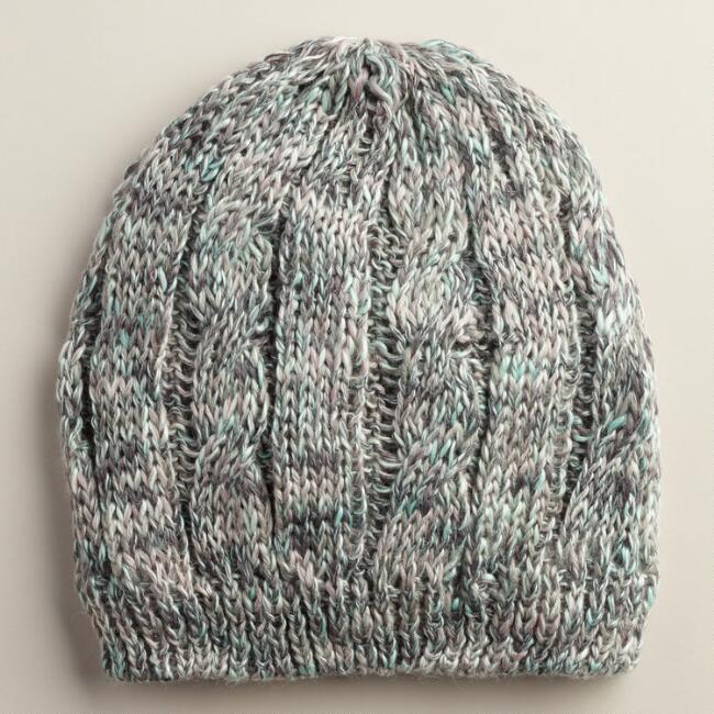 Mint and Gray Marled Knit Hat